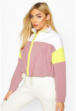 White Pastel Neon Teddy Zip Through Sweat