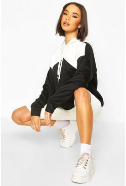 Black Oversized Rib Cuff Colour Block Hoody