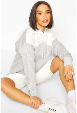 Grey marl Oversized Rib Cuff Colour Block Hoody