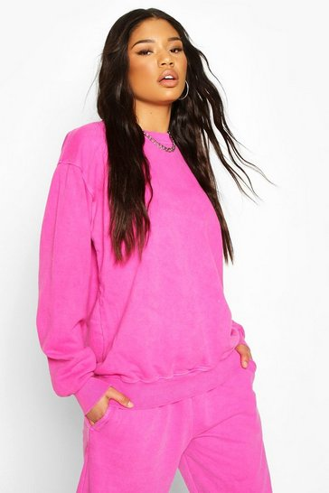 Pink Neon Oversized Washed Sweat