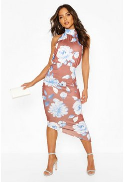 Chocolate Large Scale Floral High Neck Rouche Midi
