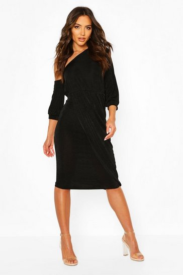Black Textured Slinky Rouched One Shoulder Midi