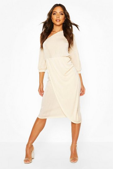 Champagne Textured Slinky Rouched One Shoulder Midi