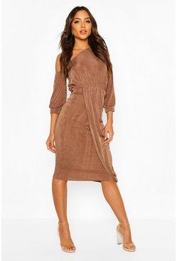Textured Slinky Rouched One Shoulder Midi, Mocha
