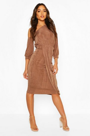 Mocha Textured Slinky Rouched One Shoulder Midi