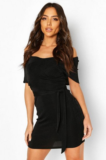 Black Textured Slinky Bardot Mini Wrap Dress