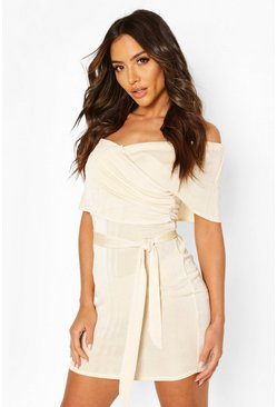 Champagne Textured Slinky Bardot Mini Wrap Dress