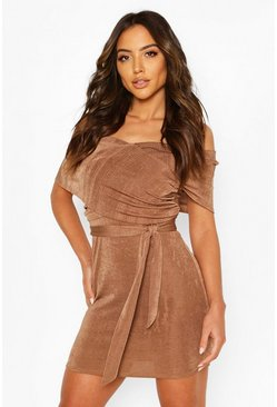 Mocha Textured Slinky Bardot Mini Wrap Dress