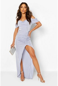 Sky Textured Slinky Cowl Neck Maxi Dress