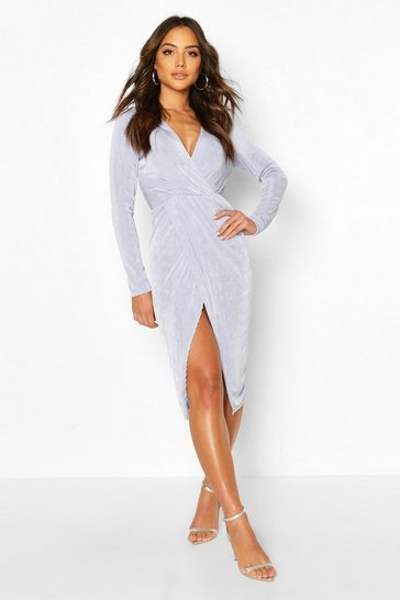 Sky Textured Slinky Twist Detail Midi Dress