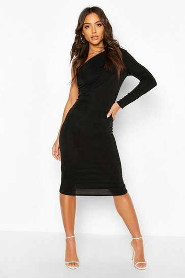 Black Texture Slinky Off The Shoulder Midi Dress