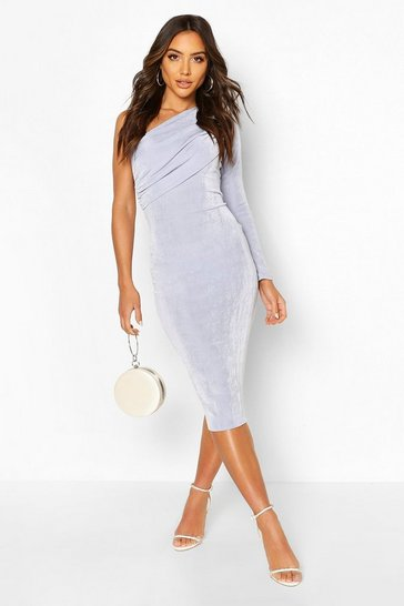 Sky Texture Slinky Off The Shoulder Midi Dress