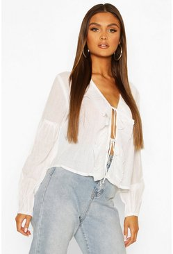 Cotton Ruffle Blouson Sleeve Blouse, White