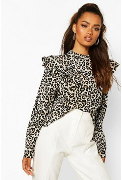 Leopard Print Ruffle Detail Open Back Blouse, Black
