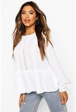 White Broderie Long Sleeve Smock Blouse