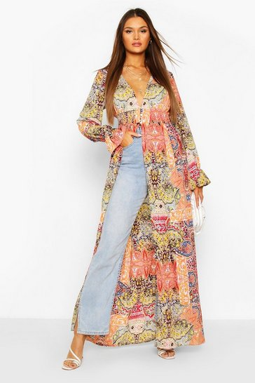 Orange Paisley Button Detail Shirred Split Kimono