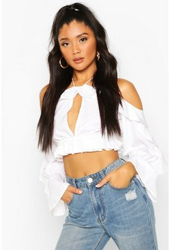 White Off The Shoulder Ruffle Key Hole Blouse