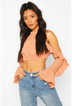 Cold Shoulder Ruffle Flare Sleeve Top, Mocha