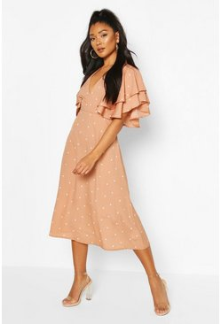 Mix Scale Polka Dot Ruffle Sleeve Midi Dress, Mocha