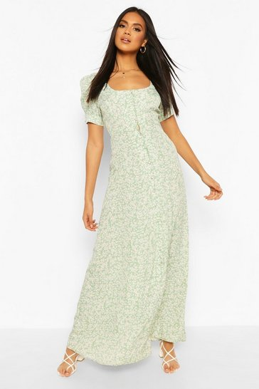 Sage Ditsy Floral Button Puff Sleeve Maxi Dress