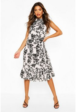 White Floral High Neck Sleeveless Midi Smock Dress
