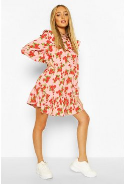 Pink Floral Ruffle Detail Drop Hem Shift Dress