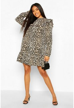 Leopard Print Ruffle Detail Drop Hem Shift Dress, Black