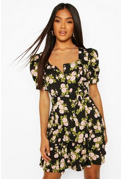 Black Rose Print Button Puff Sleeve Skater Dress
