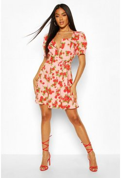 Rose Print Button Puff Sleeve Skater Dress, Pink