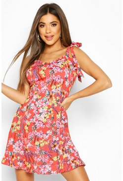 Tropical Floral Tie Shoulder Ruffle Skater Dress, Red