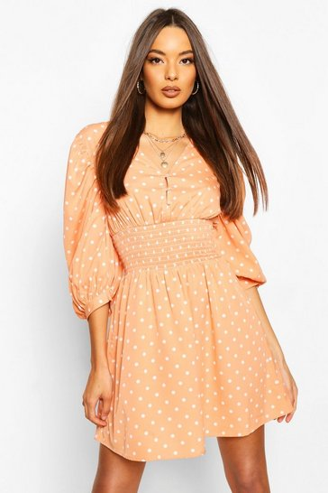 Peach Polka Dot Button Shirred Waist Skater Dress