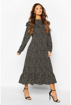 Black Smudge Polka Dot Ruffle Drop Hem Midaxi Dress