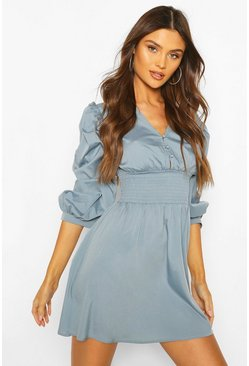 Dusty blue Button Shirred Waist Skater Dress