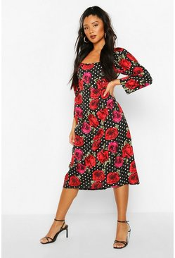 Mix Polka Dot Rose Print Puff Sleeve Midi Dress, Black