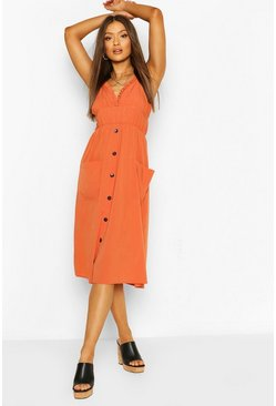 Spice Strappy Ruffle Plunge Pocket Midi Dress
