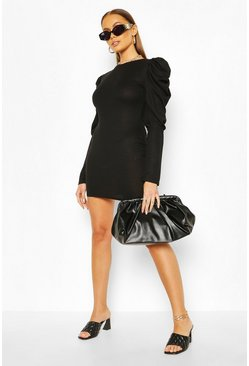Ribbed Puff Sleeve Bodycon Dress, Black