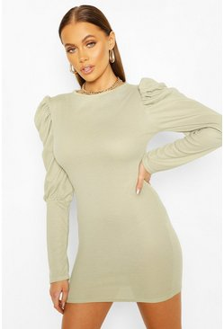Sage Ribbed Puff Sleeve Bodycon Dress