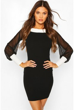 Black Contrast Trim Bardot Dress With Mesh Sleeves