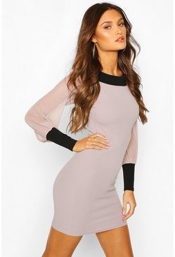 Contrast Trim Bardot Dress With Mesh Sleeves, Silver