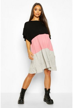 Dusky pink Colour Block Tiered Smock Dress