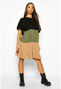 Khaki Colour Block Tiered Smock Dress
