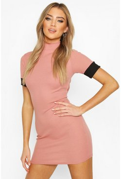 Dusty rose Turtle Neck Bodycon Dress With Contrast Cuff