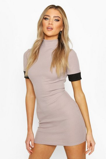 Silver grey Turtle Neck Bodycon Dress With Contrast Cuff