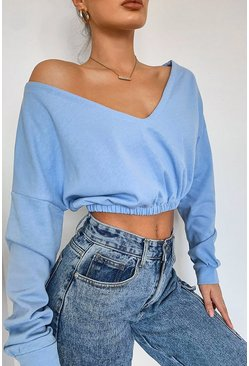 Baby blue Cropped Off Shoulder Sweat