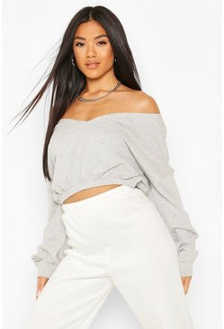 Grey Cropped Off Shoulder Sweat