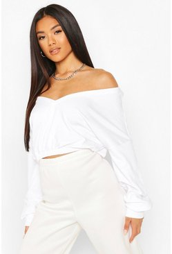 White Cropped Off Shoulder Sweat