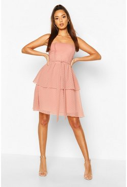 Dobby Bandeau Belted Ruffle Hem Mini Dress, Blush