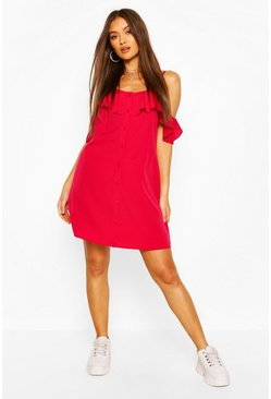 Cranberry Cold Shoulder Button Detail Slip Dress