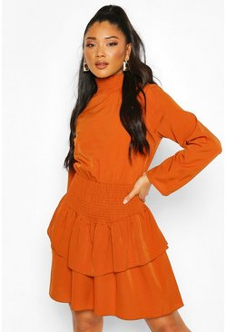 Tan Shirred High Neck Drop Hem Mini Dress