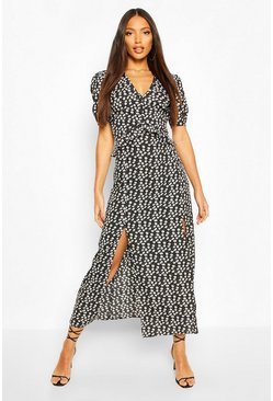 Mix Floral Polka Dot Ruffle Split Maxi Dress, Black